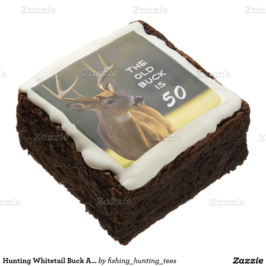 Hunting Whitetail Buck Animal Birthday Party Funny Square Brownie