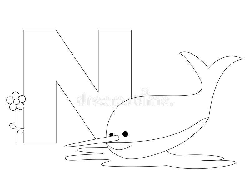 Animal Alphabet N Coloring Page Illustration Of Alphabet Letter N