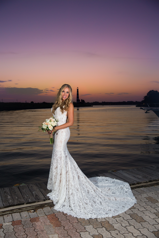 Sunset Wedding Bride Bridal Portraits Lace wedding dress Lakeside ...