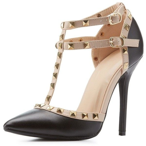 Wild Diva Lounge Studded Strappy Pointed Toe Pumps (68 BRL) ❤ liked on Polyvore featuring shoes, pumps, salto, ankle strap shoes, d'orsay pumps, t strap pumps, ankle strap pumps and sexy black pumps