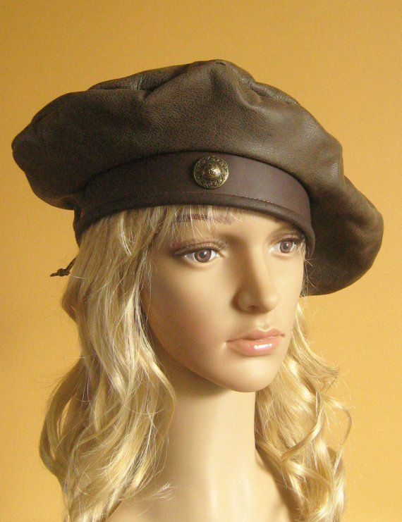 cbf9b5ba5cc39 New Medieval Celtic Renaissance SCA Larp Tudor Troop Leather Hat Beret with  Concho