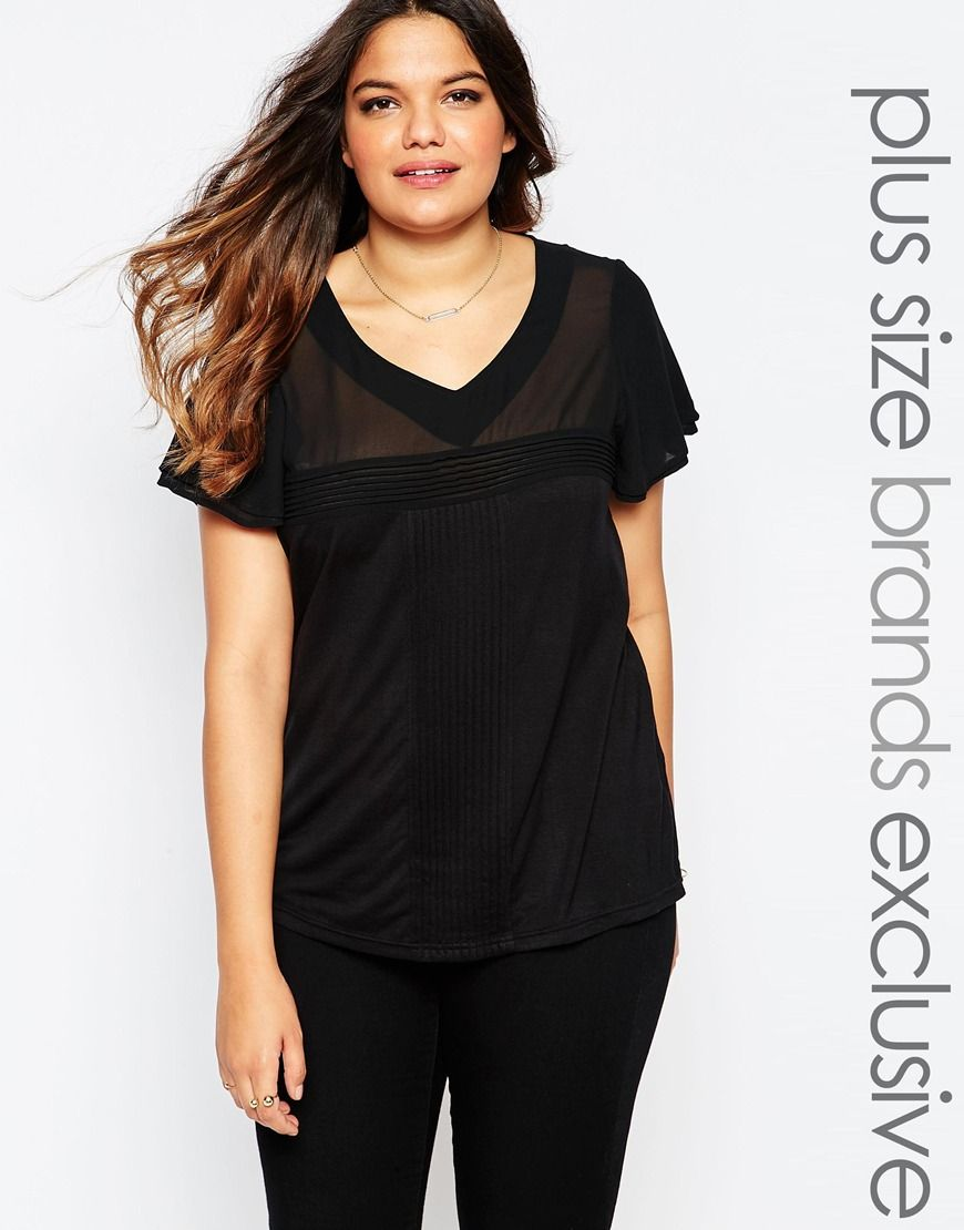 Junarose Womens V Neck Pleated Tee Black - Shirts & Tops