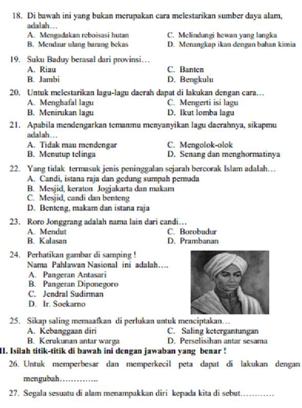 Soal Ujian Tematik Kelas 4 Semester 2 Dan Kunci Jawaban - Peranti Guru