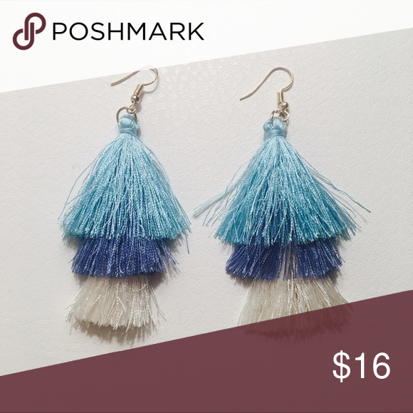 1340e32c7 NEW Blue & White Ombré Fringe Tassel Earrings NEW Blue & White Ombré Three-Tier  Fringe Tassel Statement Earrings with Gold Hardware. New & Unworn Condition.
