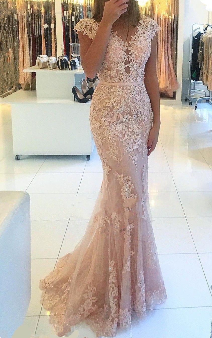 Elegante Rosa Abendkleider Lang Günstig Spitze Bodenlange