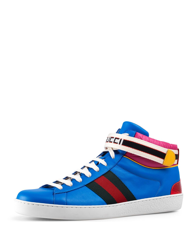 3aff01342c28 GUCCI STRIPE ACE HIGH-TOP SNEAKER.  gucci  shoes