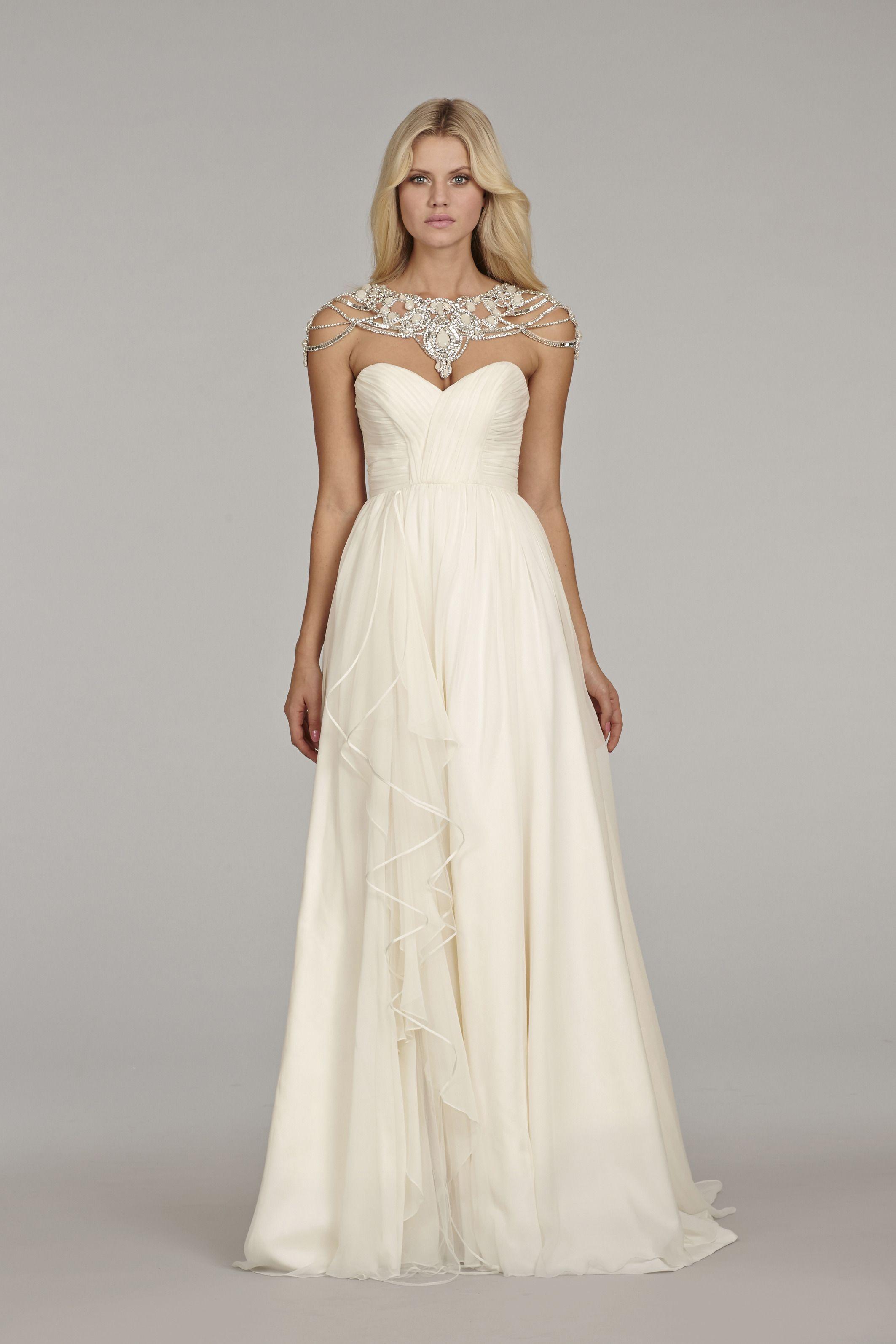 Paloma wedding gown detachable crystal bolero ivory silk for Silk georgette wedding dress