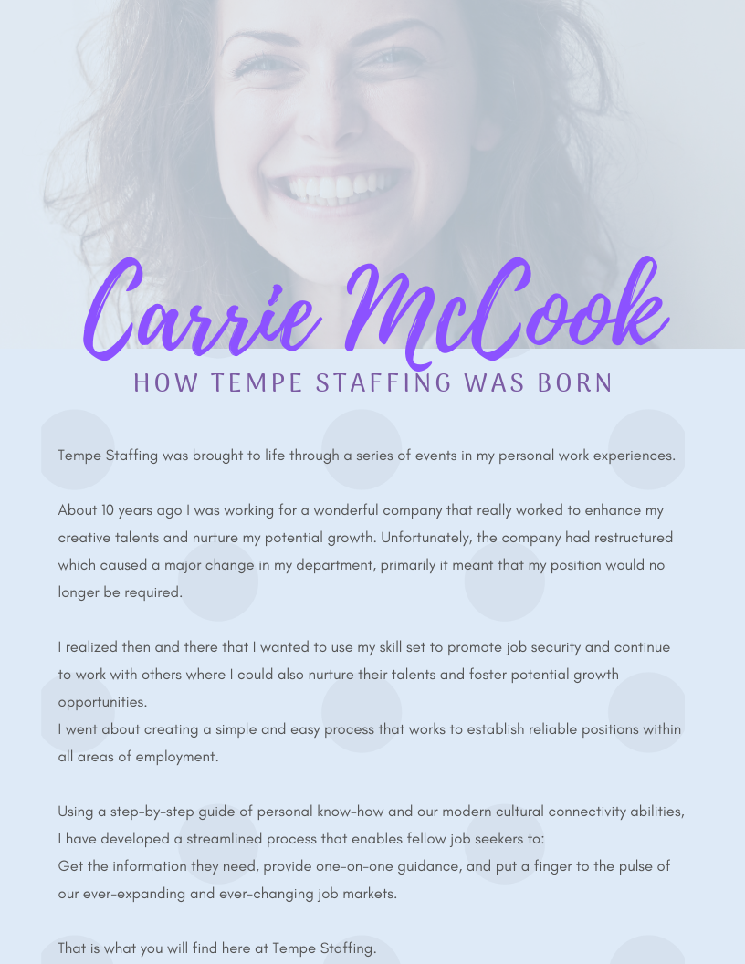 Carrie McCook explains how Tempe Staffing was created.