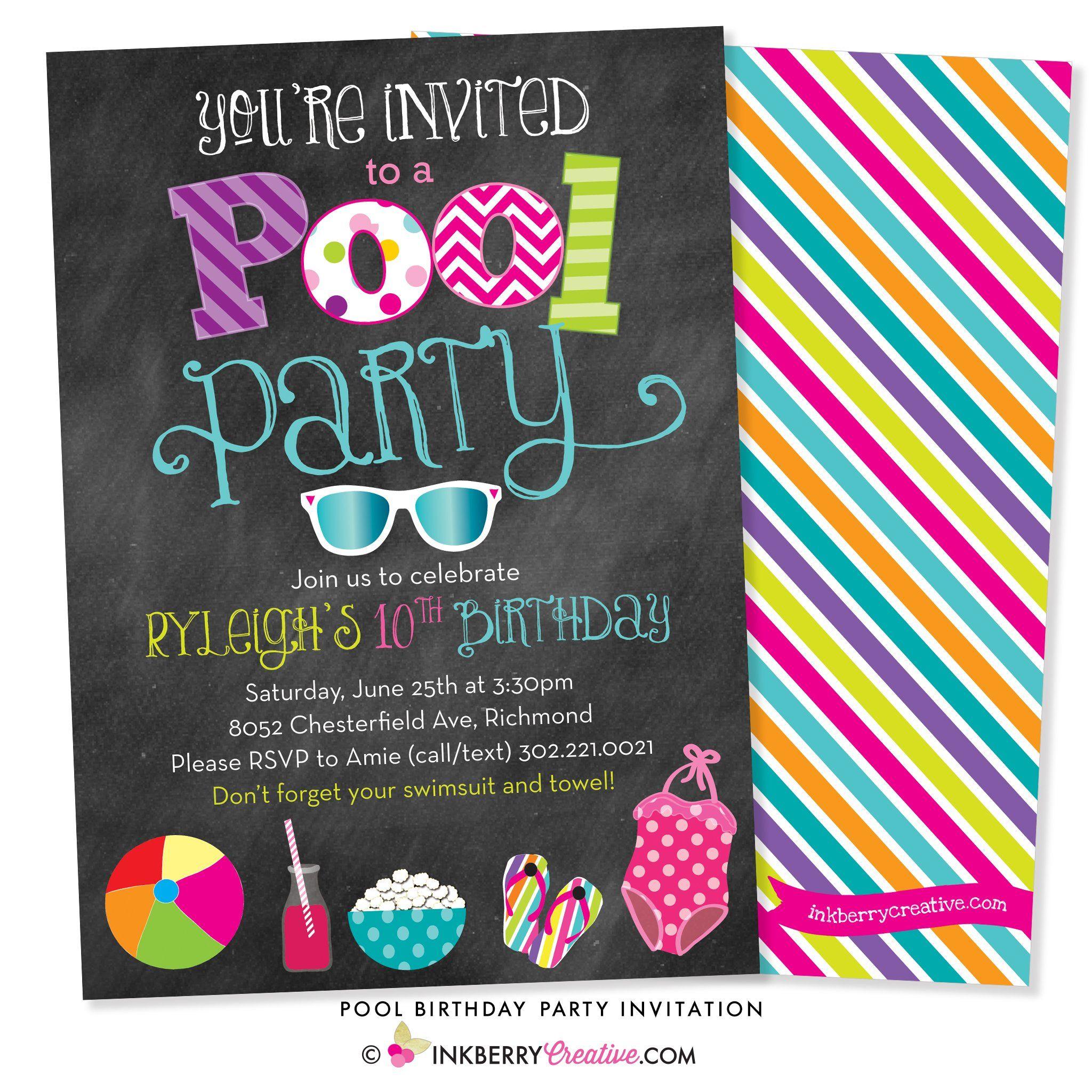 Pool  Swimming Chalkboard Birthday Party Invitations Personalized Custom
