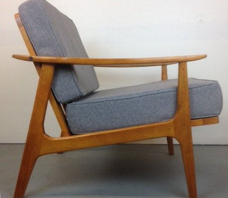 Danish Mid Century Modern Style Teak Lounge Chair Clean Modern Armchair Grey Cushions Teak Lounge Chair Grey Armchair Modern Scandinavian Furniture Design