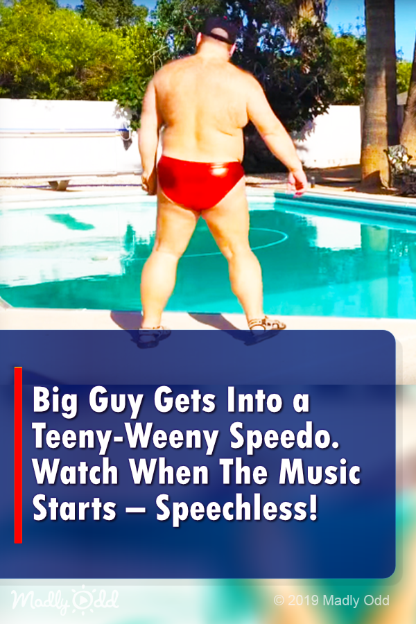 Big Guy Gets Into A Teeny Weeny Speedo Watch Him When The Music Starts Speechless Funny Dancing Justintimberlake Speed Big Guys Speedo Funny Video Memes