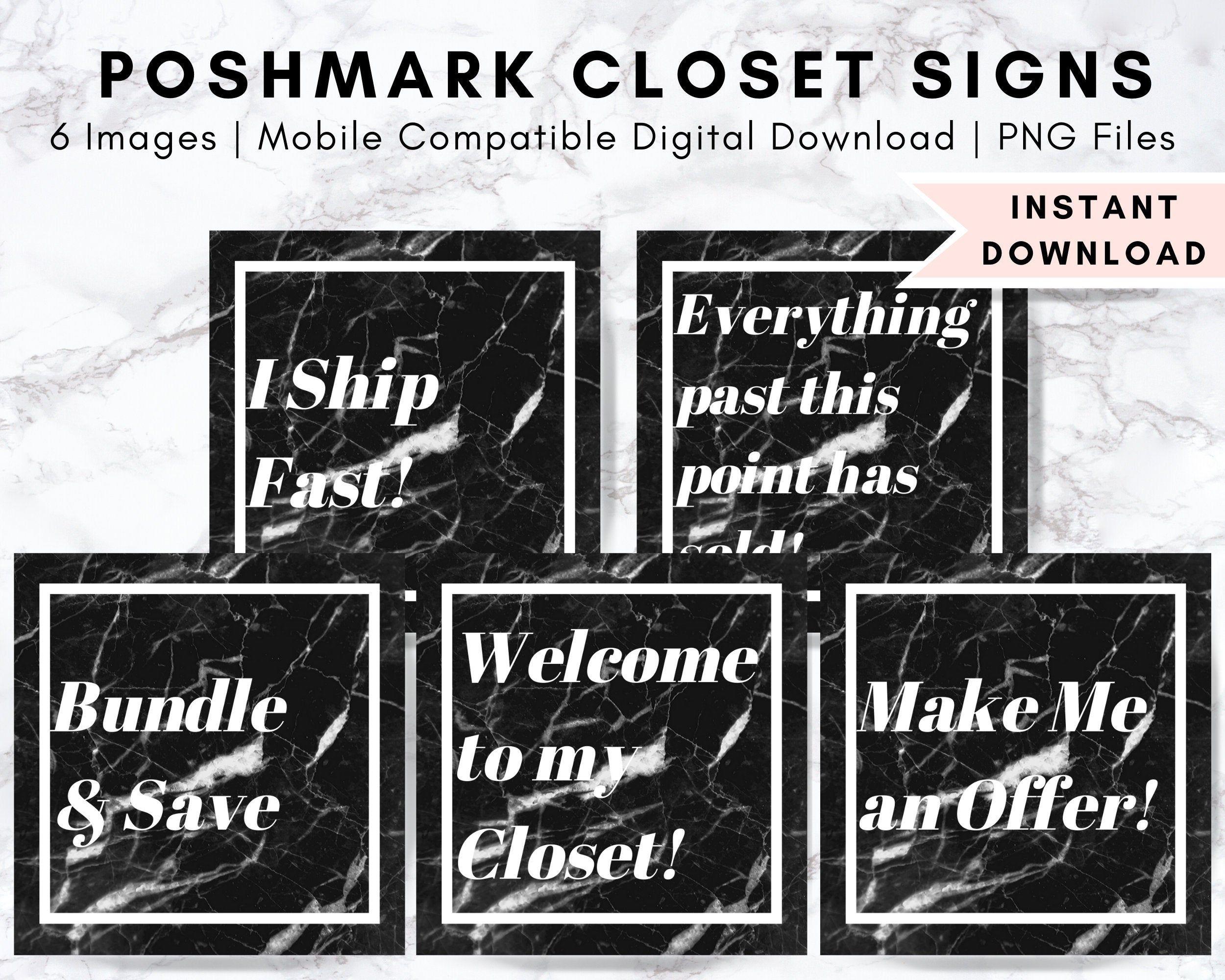 Poshmark black marble closet signs customized boutique