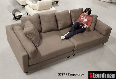 Pleasing 116L X 58D Modern Extra Depth Taupe Linen Fabric Sectional Unemploymentrelief Wooden Chair Designs For Living Room Unemploymentrelieforg