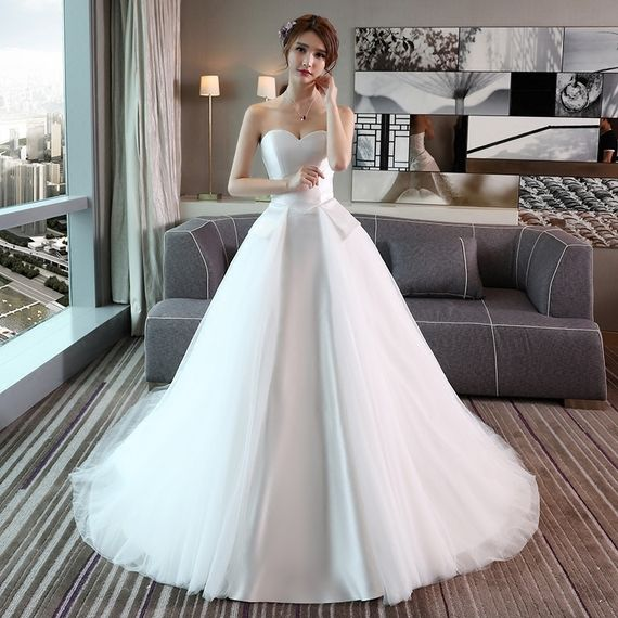 7dccecd4263 Tube Top Wedding Dress 2017 Summer New Bride Marriage new arrival big size  smear Princess simple satin was thin