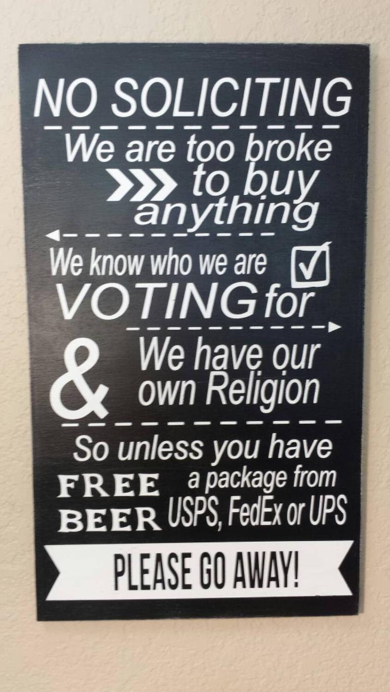 Items similar to No Soliciting Sign, No Solicitation Wood Sign, Funny No Soliciting Sign, No Soliciting Door Sign on Etsy #nosolicitingsignfunny