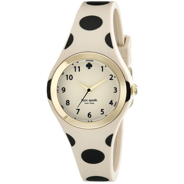 68fd7e1ae6 Kate Spade Women's 1YRU0611 'Rumsey' Beige Silicone Watch | $107 Such a  cute summer watch! And water resistant to 99 feet!