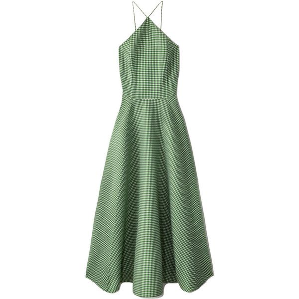 Michael Kors Gingham Halter Dance Dress (£2,030) ❤ liked on Polyvore featuring dresses, green, fitted cocktail dresses, halter neck cocktail dress, halter-neck tops, green halter top and fit flare dress