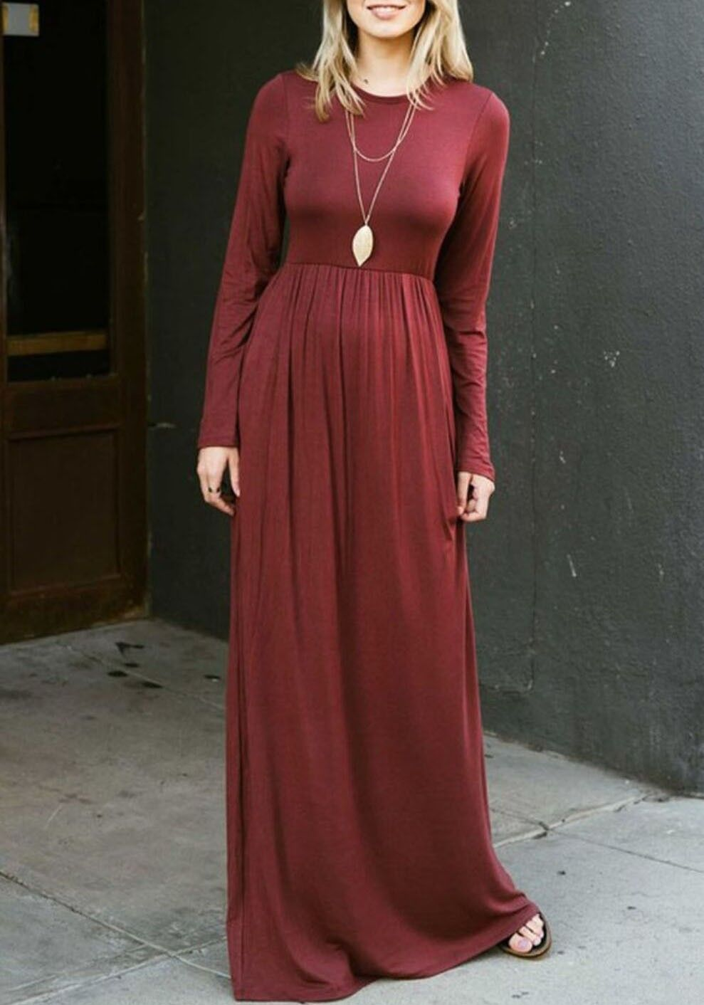 Wine Red Draped Pockets Round Neck Long Sleeve Casual Maxi Dress Maxi Dress Shop Maxi Dresses Womens Maxi Dresses [ 1412 x 989 Pixel ]