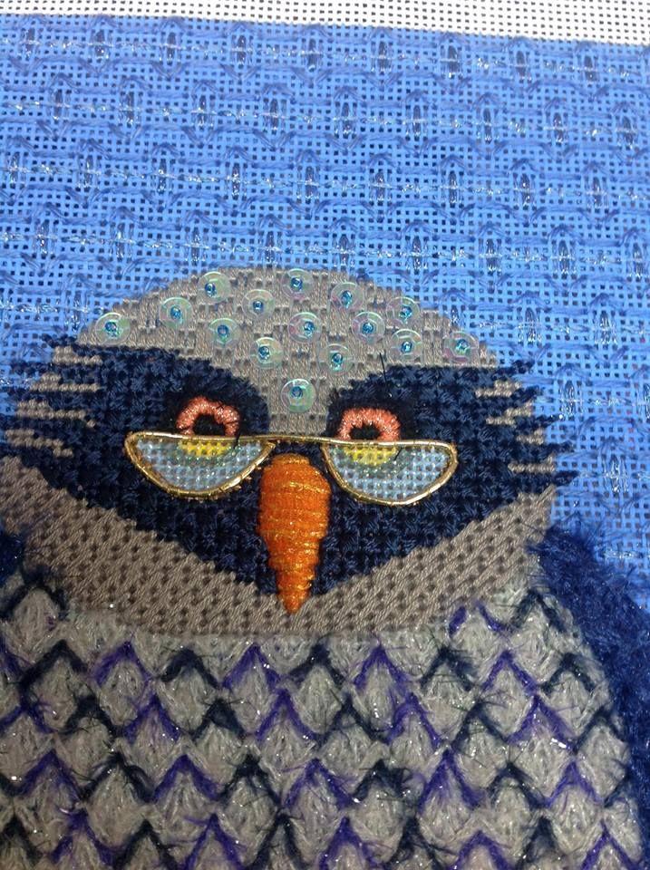 owl needlepoint - like the use of stitches