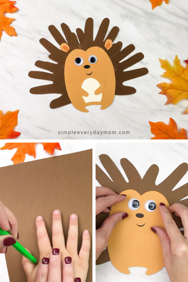 Cute Handprint Hedgehog Craft For Kids - Fun crafts for kids, Hedgehog craft, Crafts for kids, Fall crafts for kids, Preschool crafts, Fun fall crafts - This easy handprint hedgehog craft for kids is a fun fall activity for kids to do at home or in the classroom  It comes with a free printable template too!