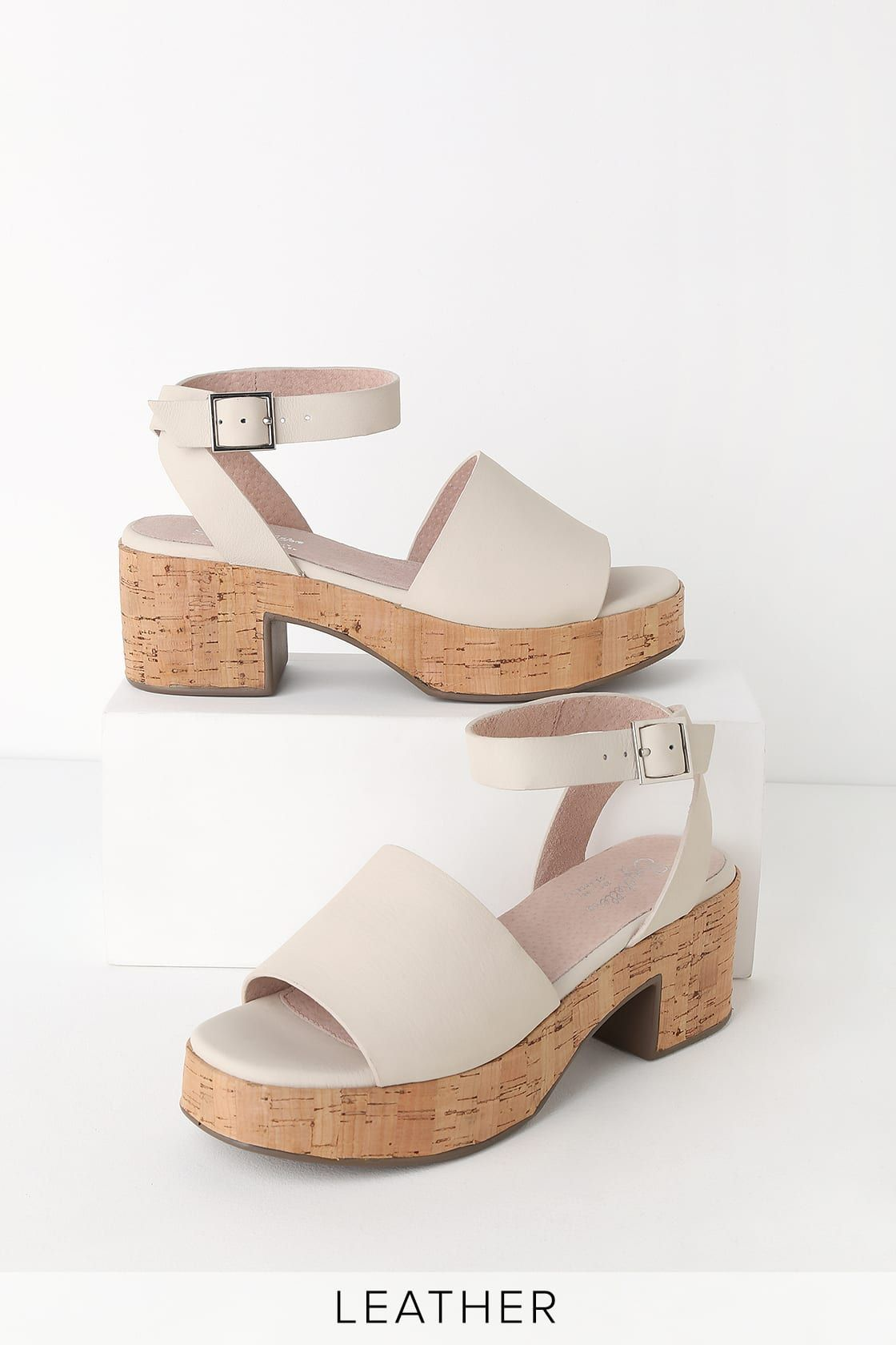 9fc259ffeb Calming Influence White Leather Platform Heels in 2019 | Shoes ...