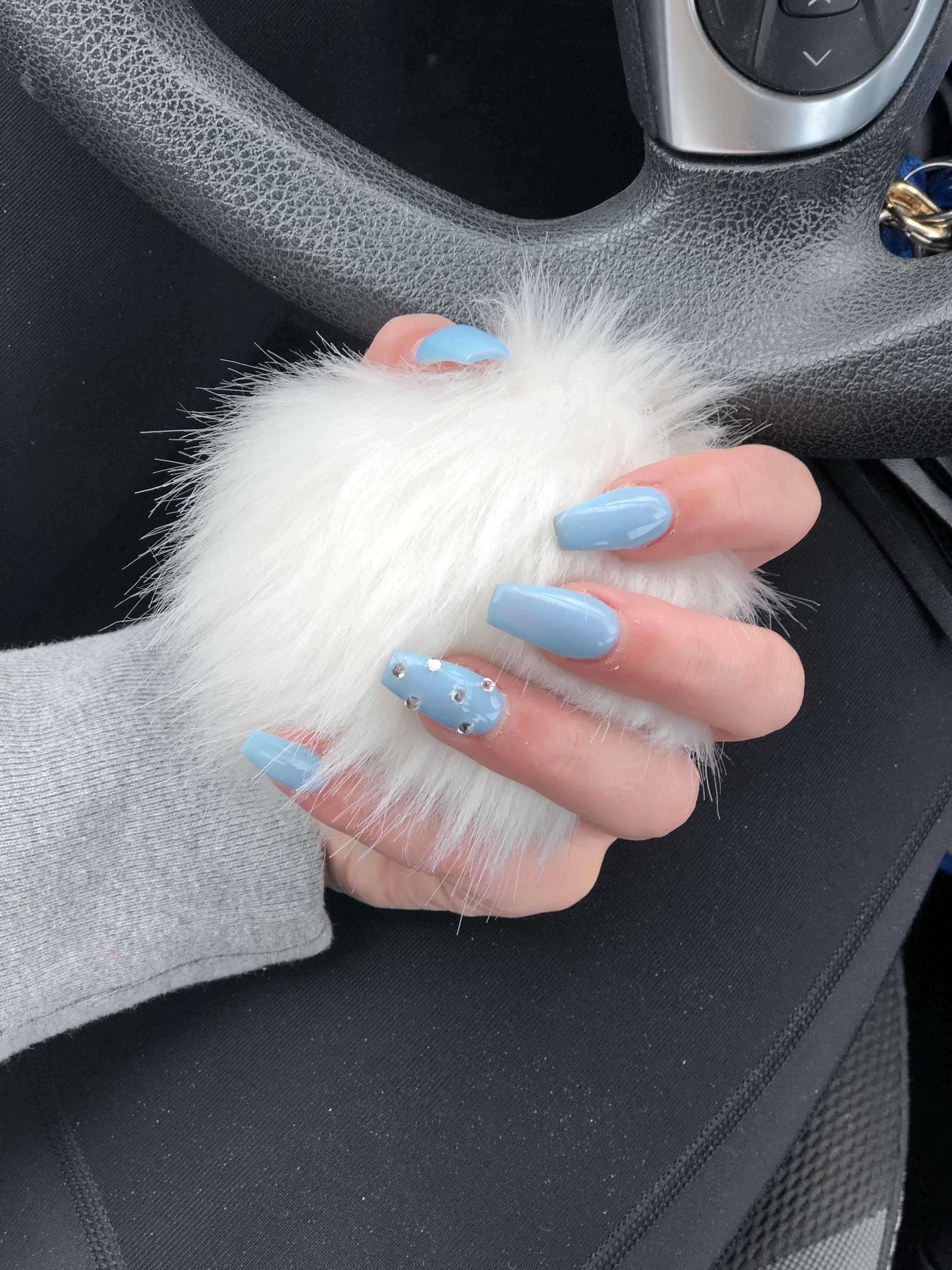 Tiffany Nails Blue With Rhinestone Sparkle Pattern Coffin Shaped Acrylics In 2020 Tiffany Nails Nails Birthday Nails