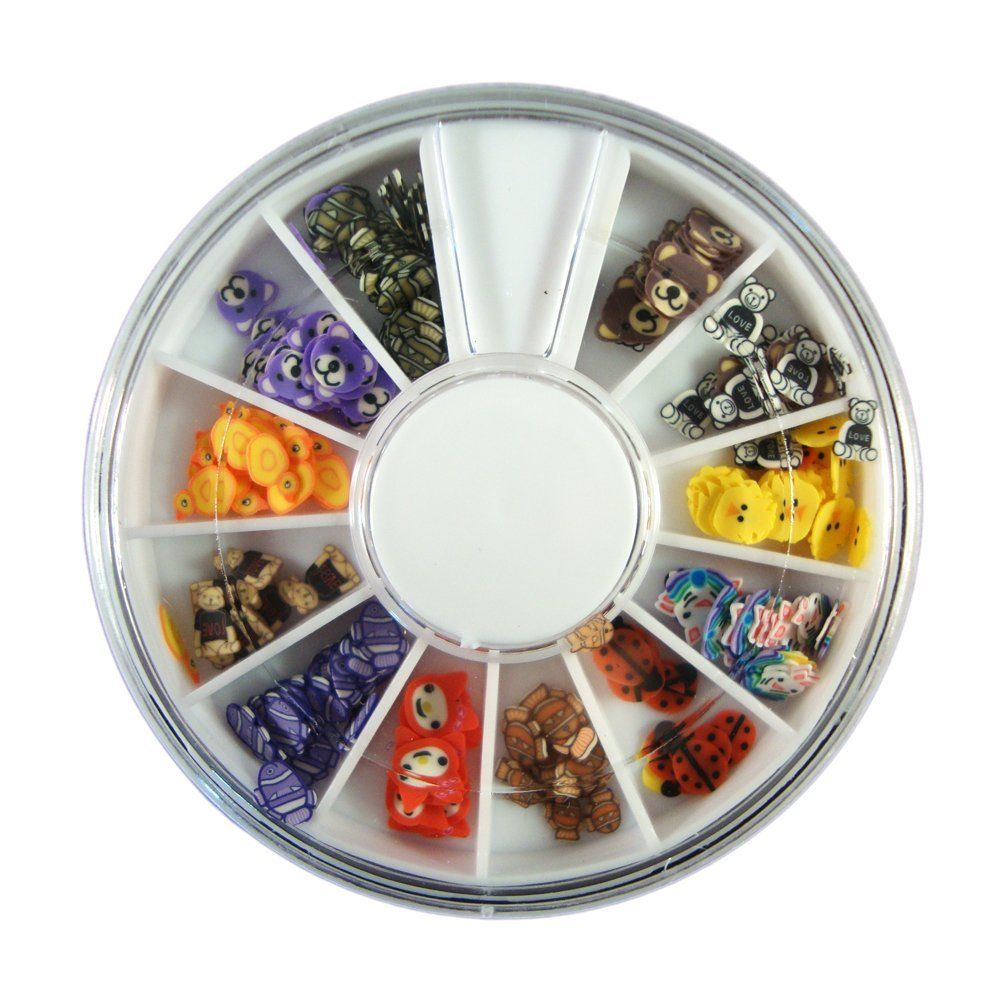 12 Colors Cute Cartoon Face Designs Nail Art Polymer Decal Slices in Wheel - Ready to Use by Winstonia ** This is an Amazon Affiliate link. Click on the image for additional details.