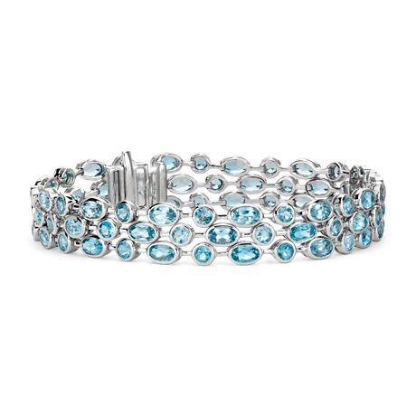 Blue Nile Trio Oval Blue Topaz Bracelet in Sterling Silver (5x3mm) 4Gm6NUb1II