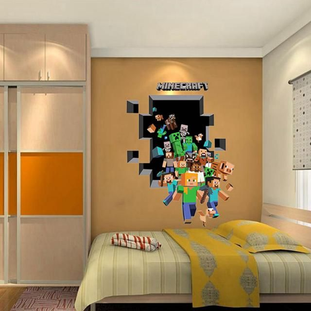 Check Out 2017 New Minecraft 3D Wall Sticker For Kids Room Wallpaper Home  Decoration Game Minecraft