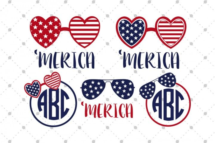 Download 4th of July Monogram Frames and Glasses SVG files for ...