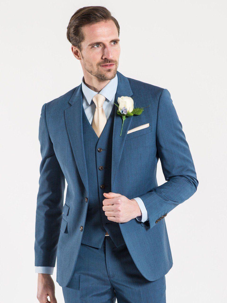 Fellini Tailored Petrol Tailored Fit Three Piece Wedding Suit ...