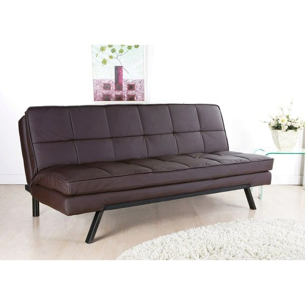 Abbyson Newport Faux Leather Futon Sleeper Sofa Leather Futon