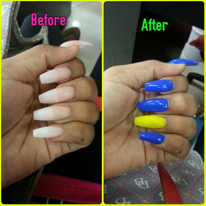 Blue And Yellow Coffin Nail Design Coffin Nails Designs Nail Designs Coffin Nails