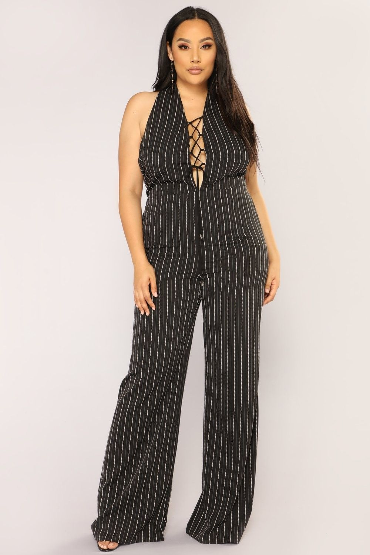35b79daf0f22 Plus Size Work The Pipeline Stripe Jumpsuit - Black  19.97  ootd  style   fashion
