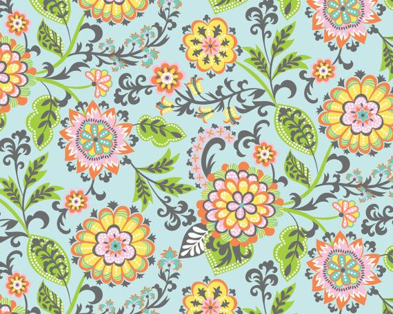 Suzette Blue  Flowers from Blend Fabrics by JAQSFabrics on Etsy