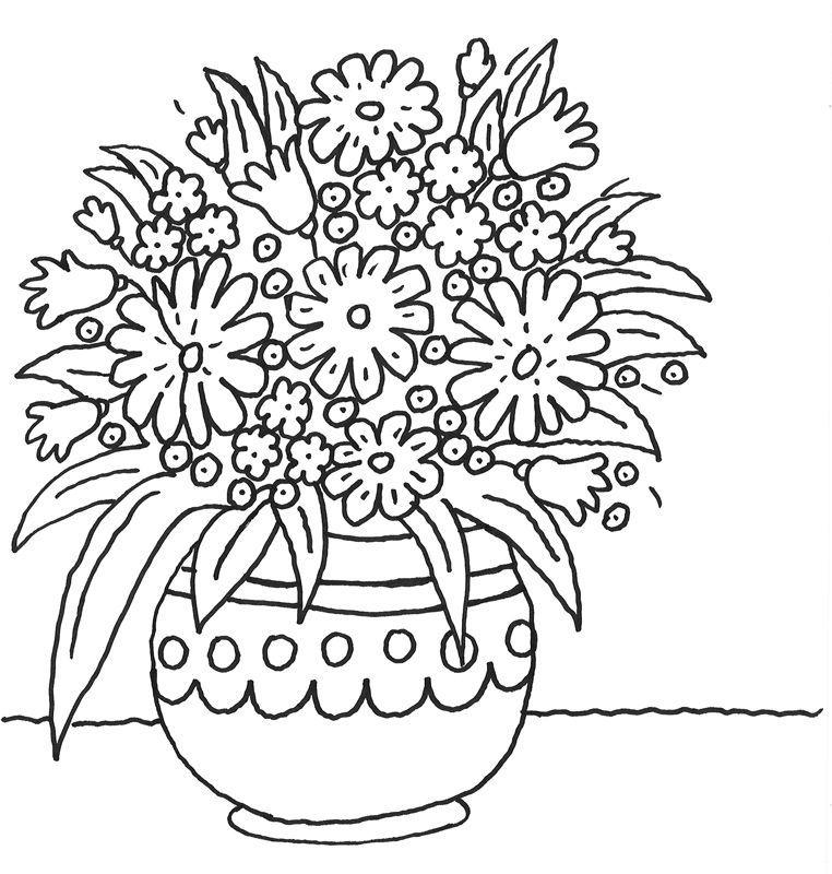 malvorlageblumentopfmitvielenblumen 762×800