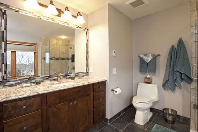 Woodbury, MN bath remodel - Custom maple cabinetry ...