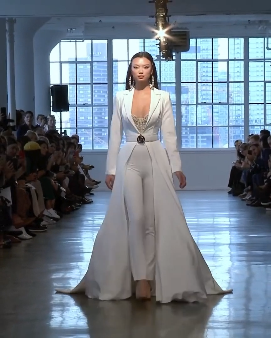 Berta Bridal Spring 2020: Elegant White Woman's Wedding Suit With A Train. Spring