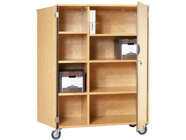 Mobile Storage Cabinet With Doors 6 Shelves W Partition Wood