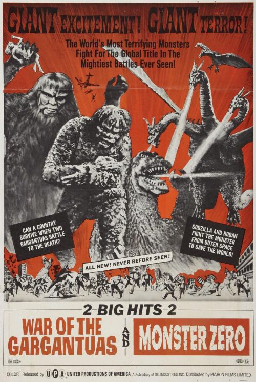 War Of The Gargantuas And Monster Zero 1966 Old Movie Posters