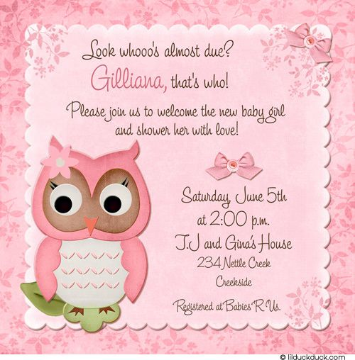 shower invitations decorations with pink pin baby owl flowers girl fall invitation bows