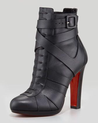 Lamu Leather Lace-Up Platform Red Sole Bootie, Black by Christian Louboutin at Neiman Marcus.
