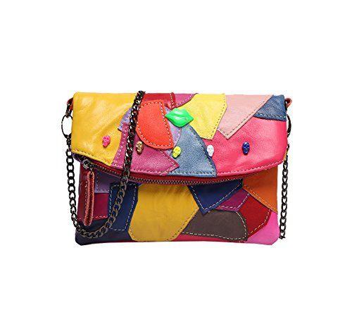 24.99 - Sibalasi-Women Colorblock Lambskin Leather Multicolor Crossbody  Bag Black Handbag Halloween Skull Studded dc19eecbef28d
