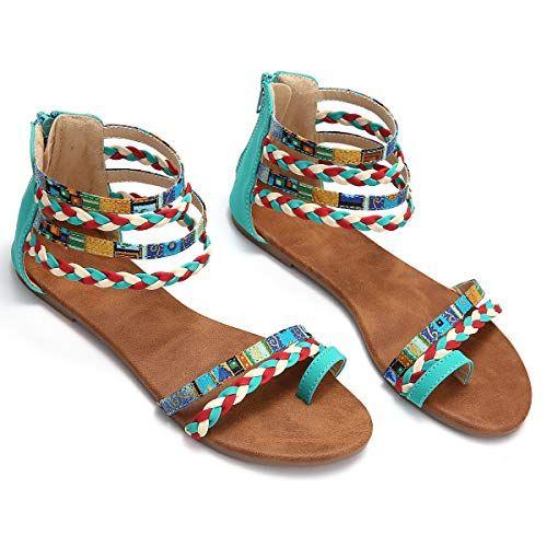Kinlene Femmes Boh/ême Sandales Plates /Ét/é Boho Peep Clip Toe T-Sangle Chaussures De Plage Vintage Flip Flops Tongs Pantoufles