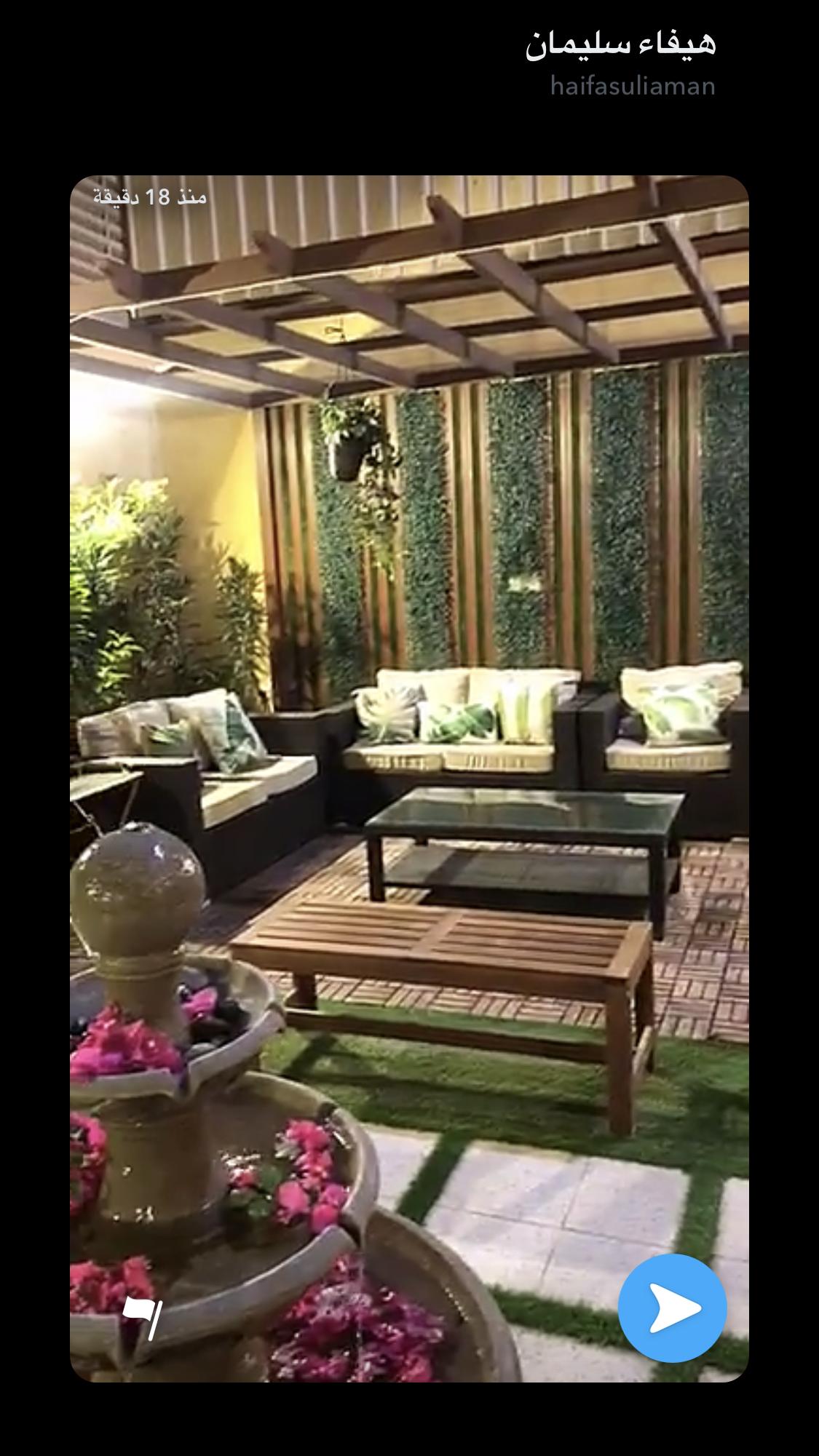 جلسة صغيرة في حديقة منزل مشاركة من متابعين ديكور اليوم نستقبل أفكاركم المنزلية ع Backyard Patio Designs Garden Lighting Design Furniture Design Living Room