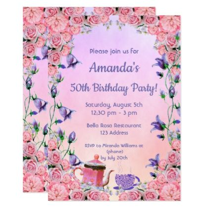 50th Birthday Tea Party Invitation Pink Violet