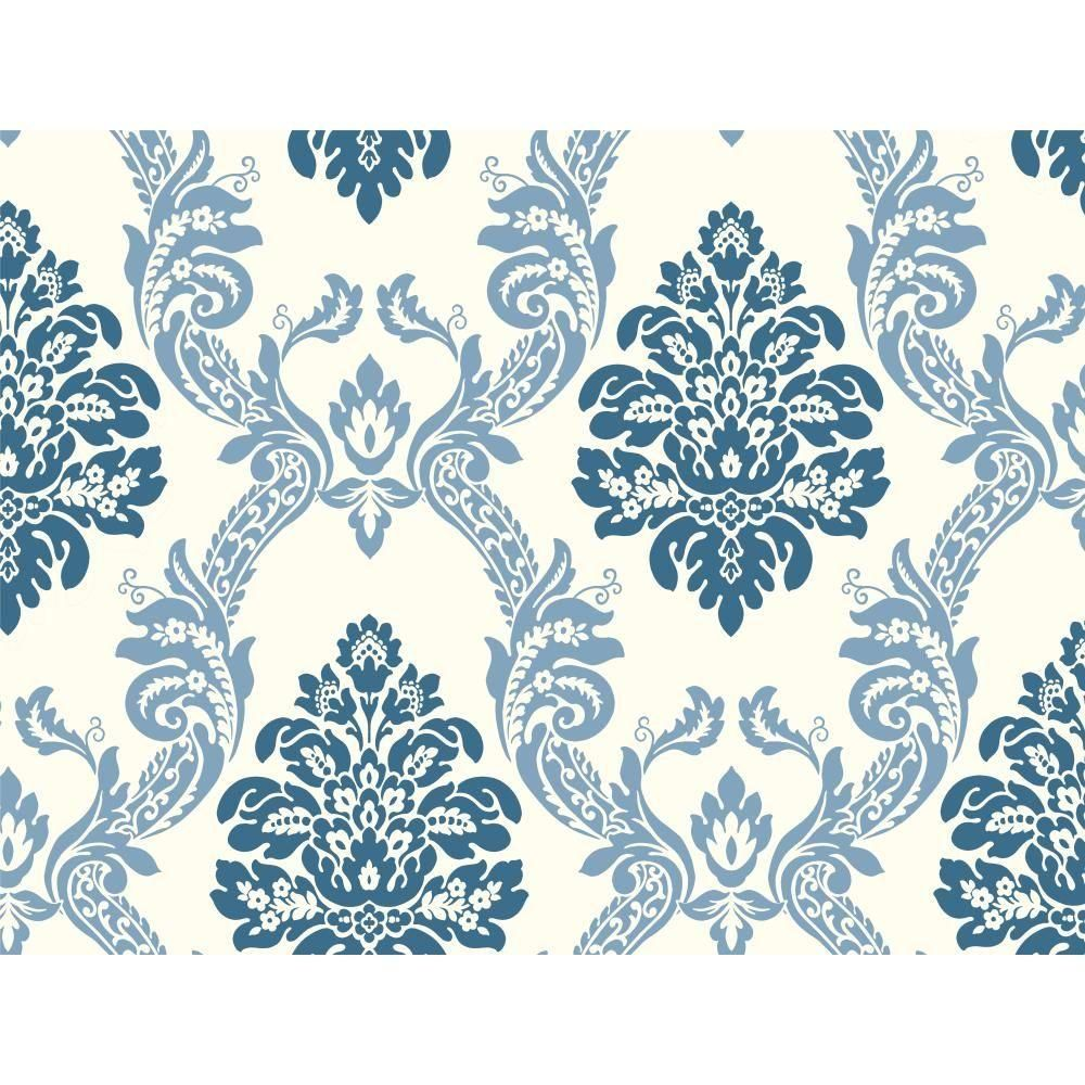 Pattern Play Ogee Damask Wallpaper White Dark Blue Grey