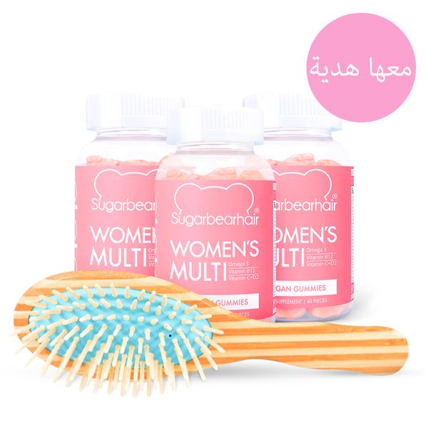 مجموعة متعدد الفيتامينات شوغر بيير هير النباتية للنساء لثلاثة أشهر Multivitamin Sugarbearhair Vitamins