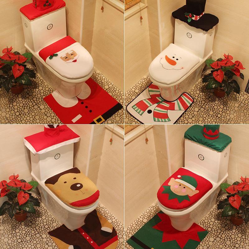 Santa Claus Snowman Toilet Cover Carpet Christmas Bathroom Set Home Decorations