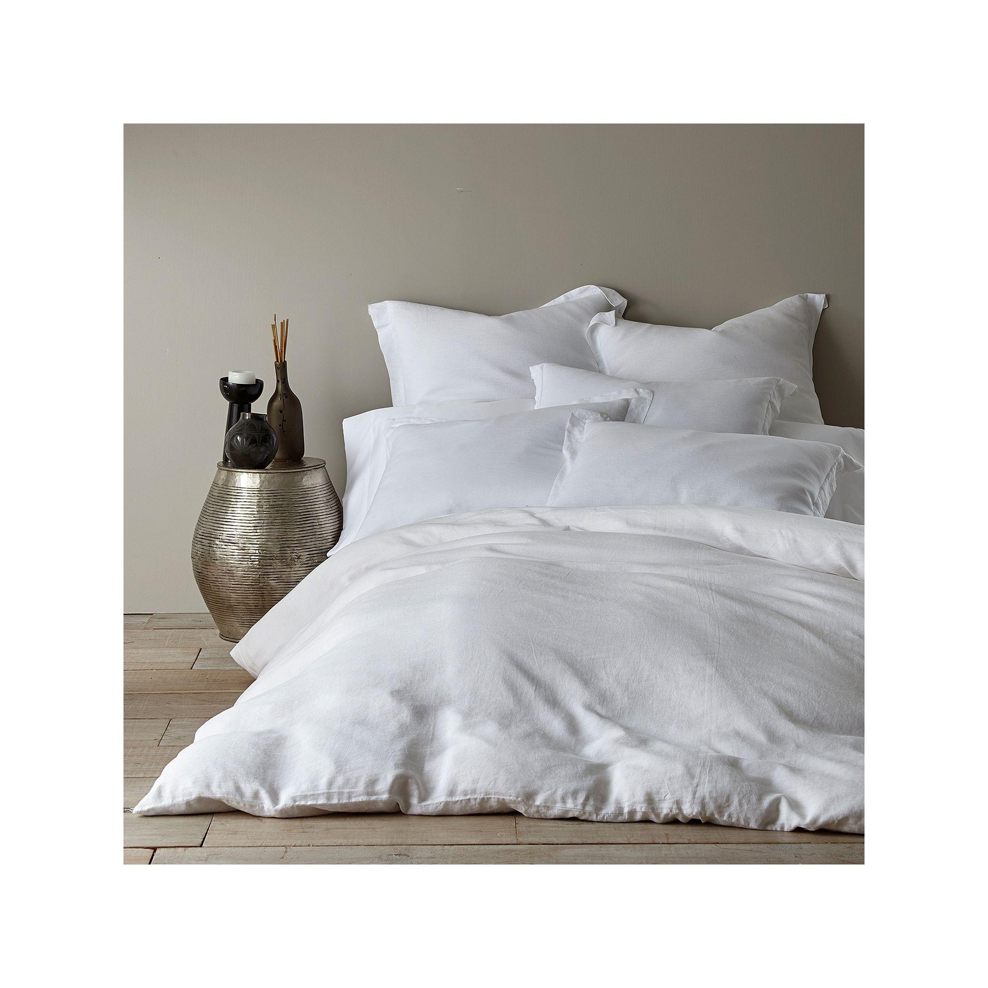 Washed Linen Duvet Cover, White
